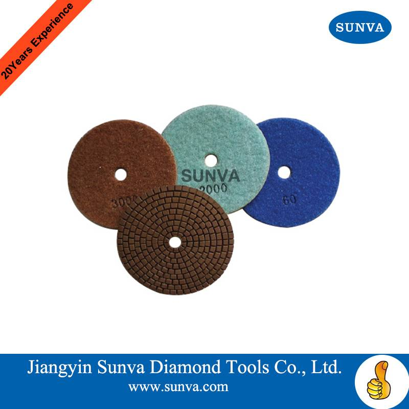 SUNVA Resin Bonded Soft Polishind Pads /Diamond Polishing Pad forStone