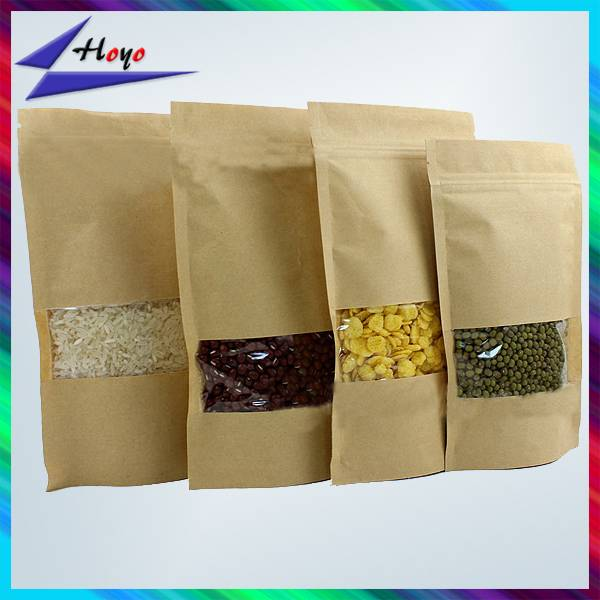 Food Industrial Use kraft paper bag with clear window
