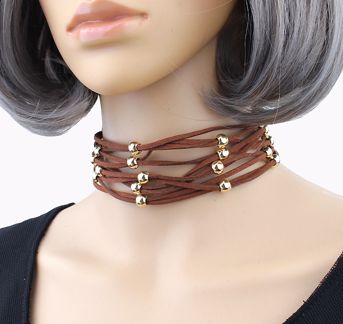 Leather collar necklace fashion trend