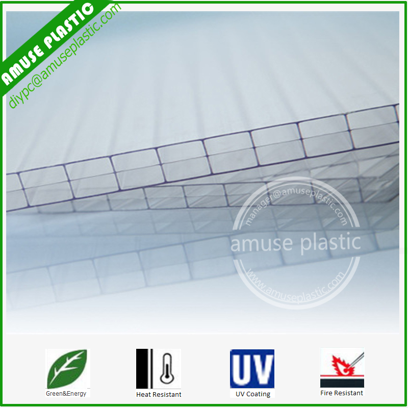Clear Plastic Building Roofing Policarbonato PC Triple-Wall Layer Sheets