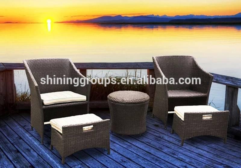 Space saving garden furniture rattan chaise lounge set SH-11