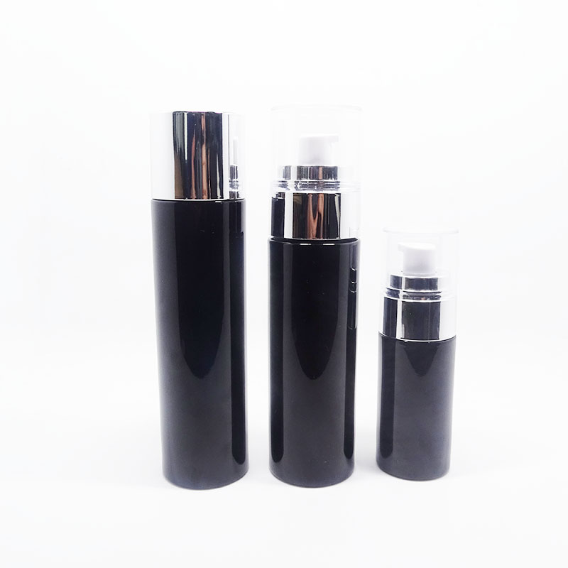 Logo printing color painting cosmetic bottle set with aluminum pump cap