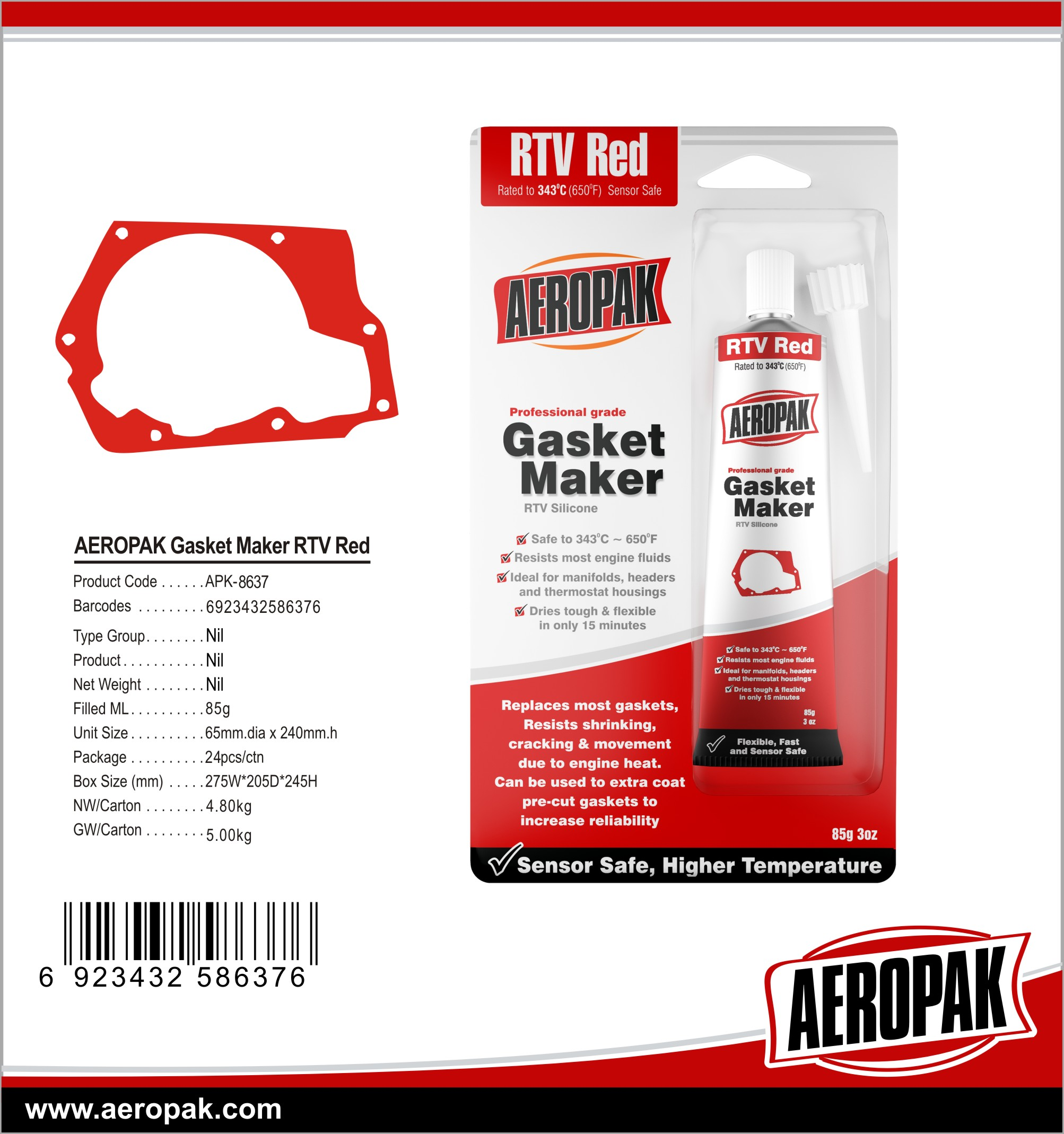 AEROPAK 85g Hi-Temp RTV Gasket Maker Silicone Sealant with Red