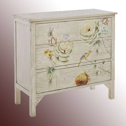 Living Room Cabinets With Hand Painted Flower