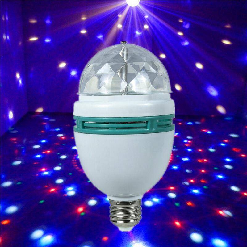 indoor disco rotating lights led strobe party effect light 3W RGB rotating bulb party lights