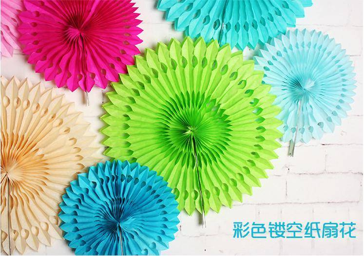 Party Decoration Customized Hot Sale Tissue Paper Fans hanging paper fan for Wedding decorations