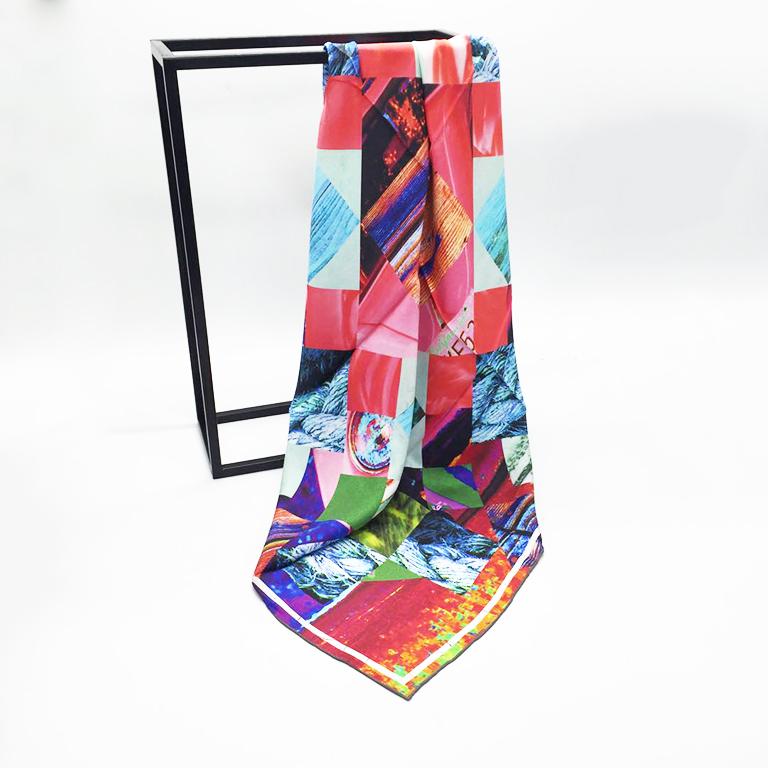 fabric printing digital on silk satin scarf with logo