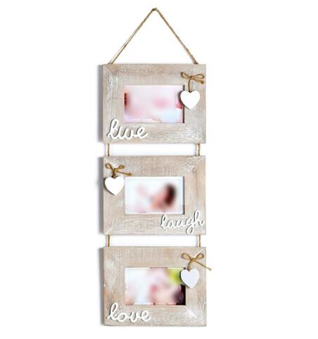 Lovely Home Decoration Wall Mounted Hanging Rustic Grey Wooden Picture Frame For 3 Photos Set