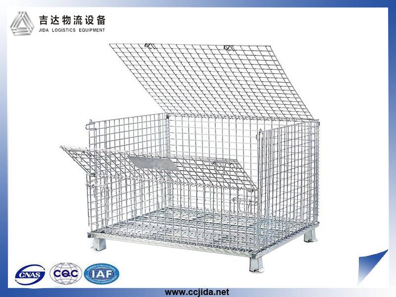 800*600*640MM large galvanized heavy metal wire mesh storage cage for racking