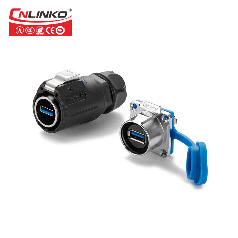 CNlinko LP24 USB3.0 Cable Connector Interface Fast Transmission PBT material IP65/IP67 Connector