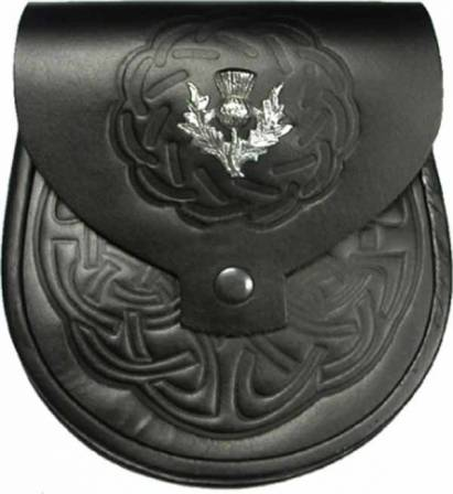 LEATHER SPORRAN CELTIC EMBOSSED WITH BADGE