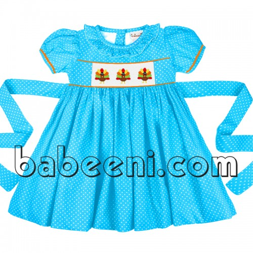 Adorable turkey hand smocked girl dress for Thanksgiving