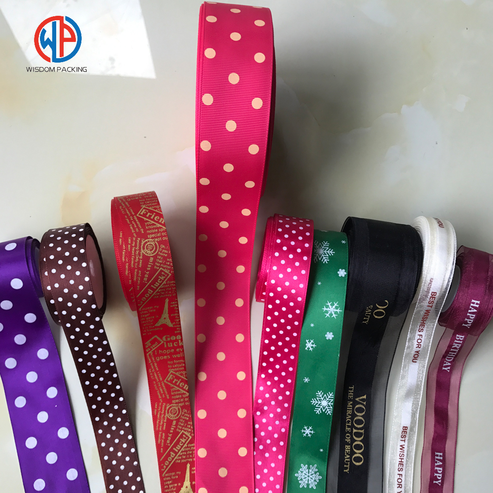 Wholesale 100%polyester printed satin ribbon