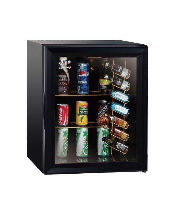 Office Quality 38 Litre Upright Glass Door Freezer w/6 Can Bottle Shelf