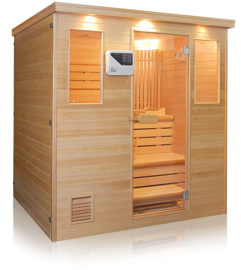Indoor 4 person solid wood wet steam room for sale