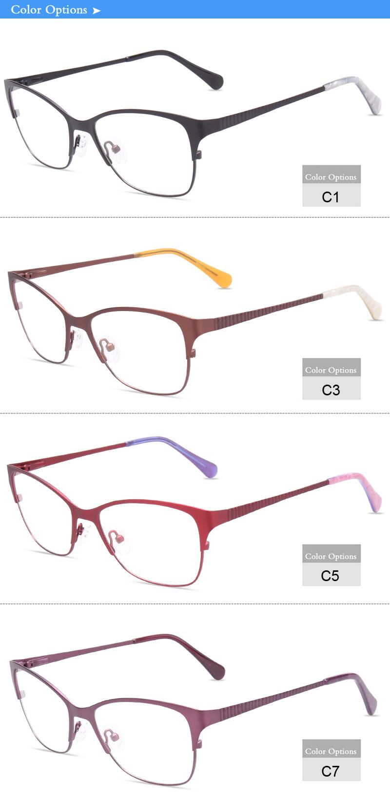 Fashion design flexible stainless steel metal optical frame JC6646