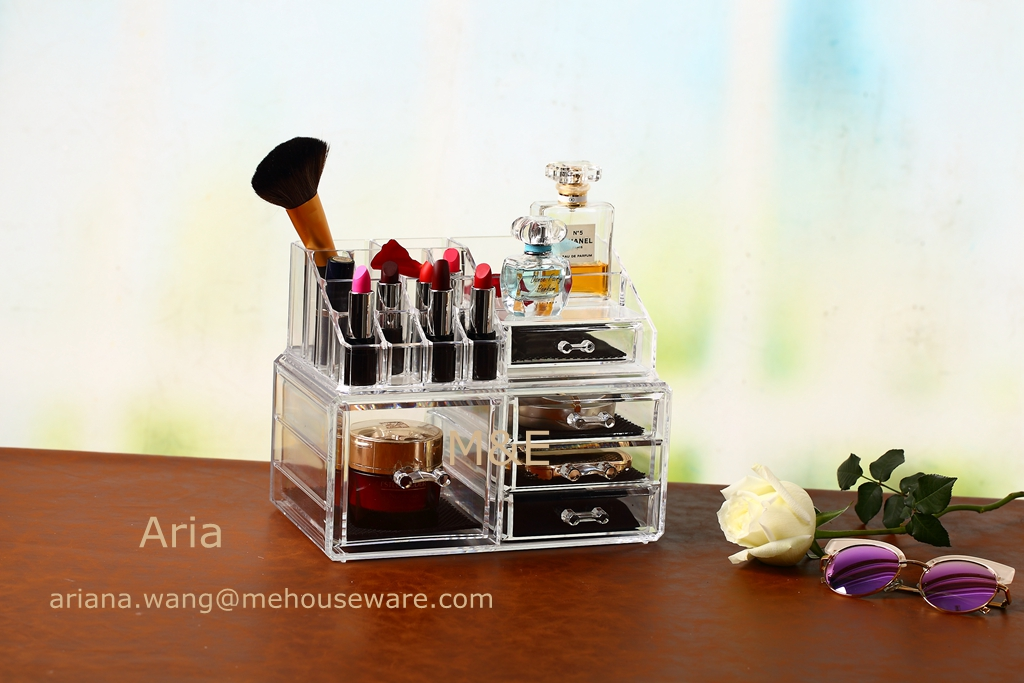 High quality Acrylic Makeup Organizer with 4 Drawer and Top