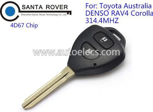 Toyota Corolla 2 Button black Remote Key fob G Chip 312Mhz