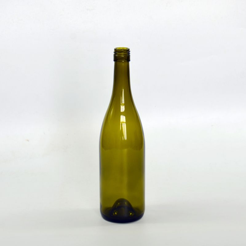 750ml antique green glass bottle for wine with screw top