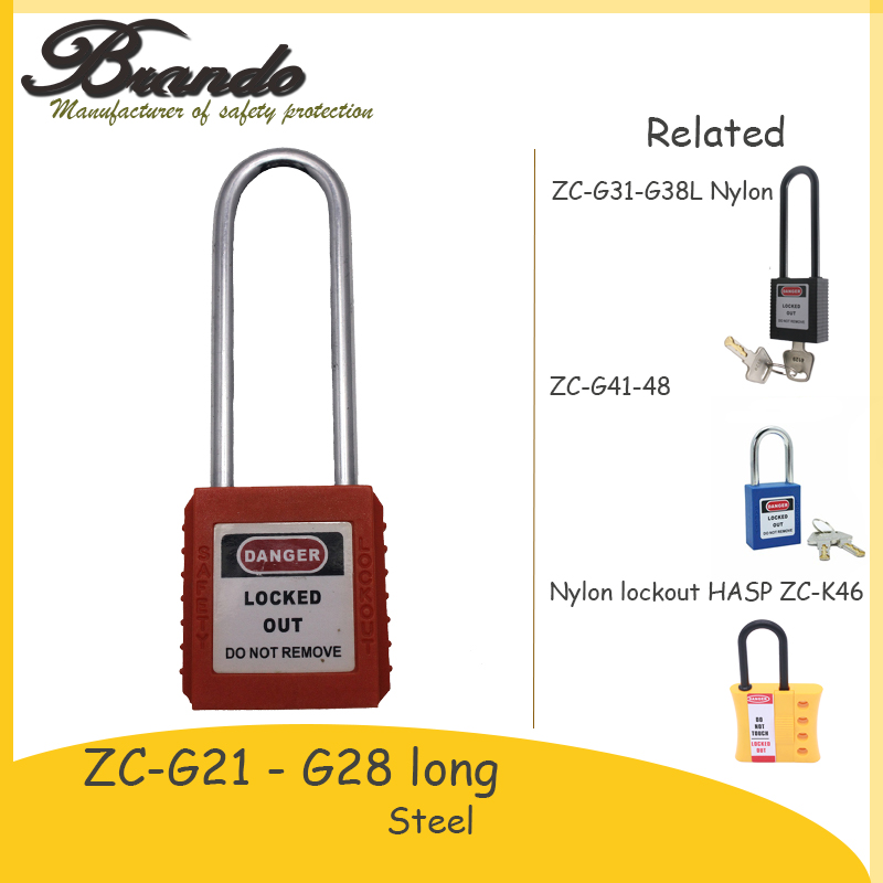 China safety 76mm steel shackle abs plastic body safe lock with master key