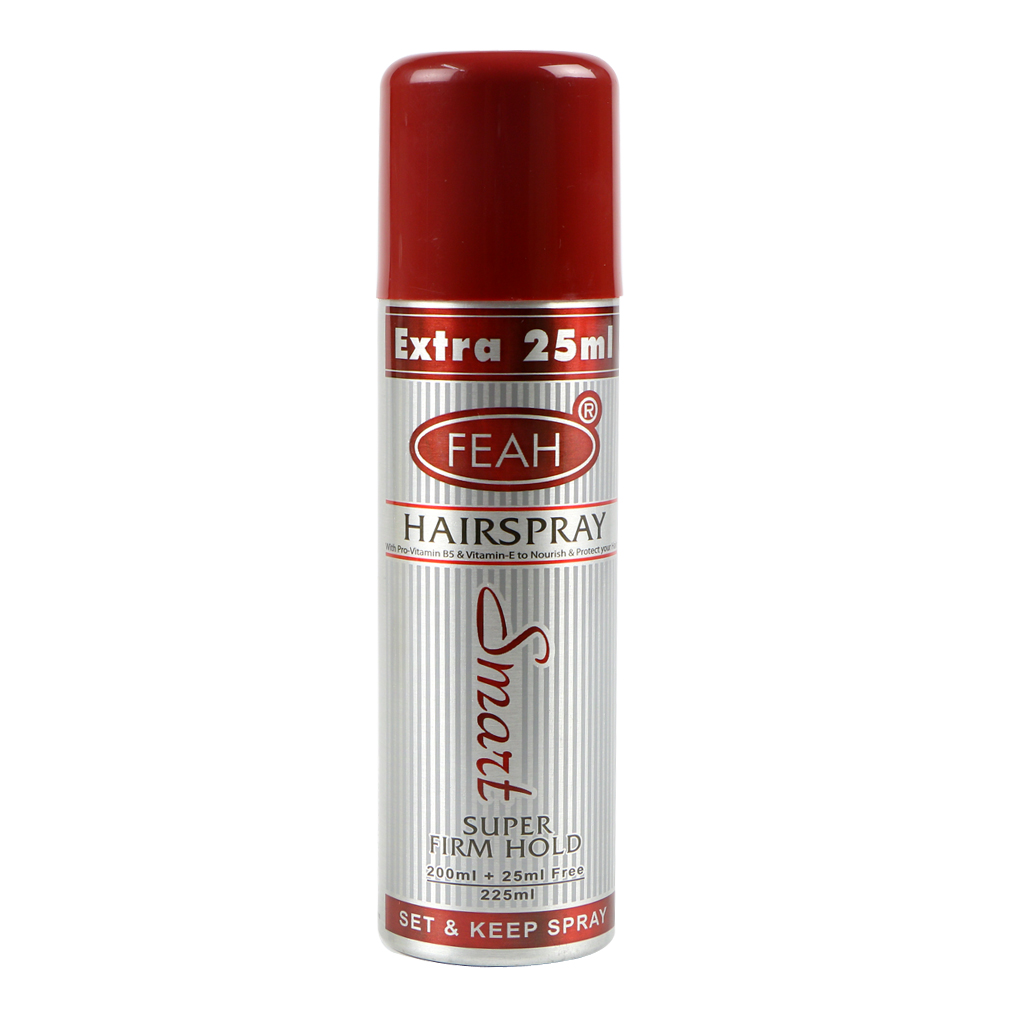 Feah Super Firm Hold Hair Spray with Pro Vitamin B5 and Vitamin E, 200ml + 25ml FREE