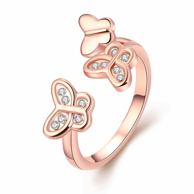 Fashion Jewelry Rose Gold Plated Butterfly Ring