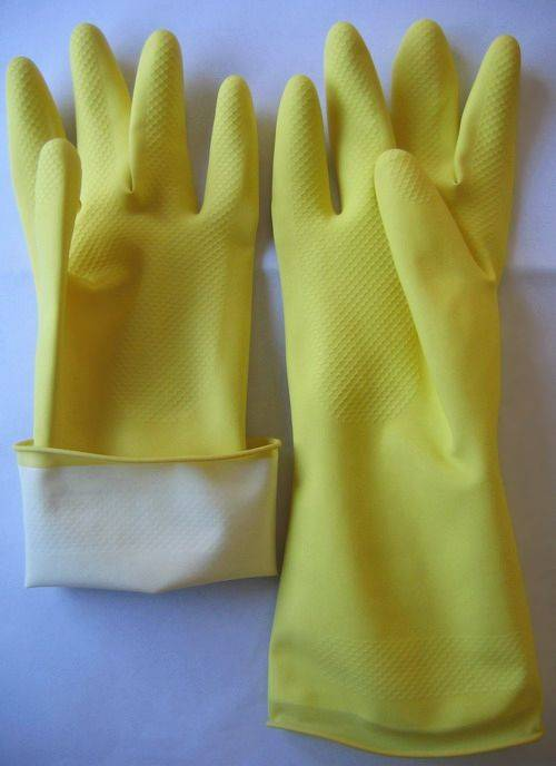 flocklined household latex gloves-60g/pair