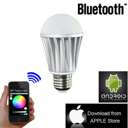 Bluetooth Smart IOS Android Lamp Led wireless Colorful RGBW light bulb E27 8W