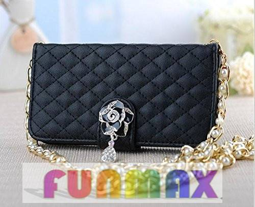 Diamond PU Wallet with 3D Flower Pendant and Pearl Chain for iPhone 5 5S 5G - Black