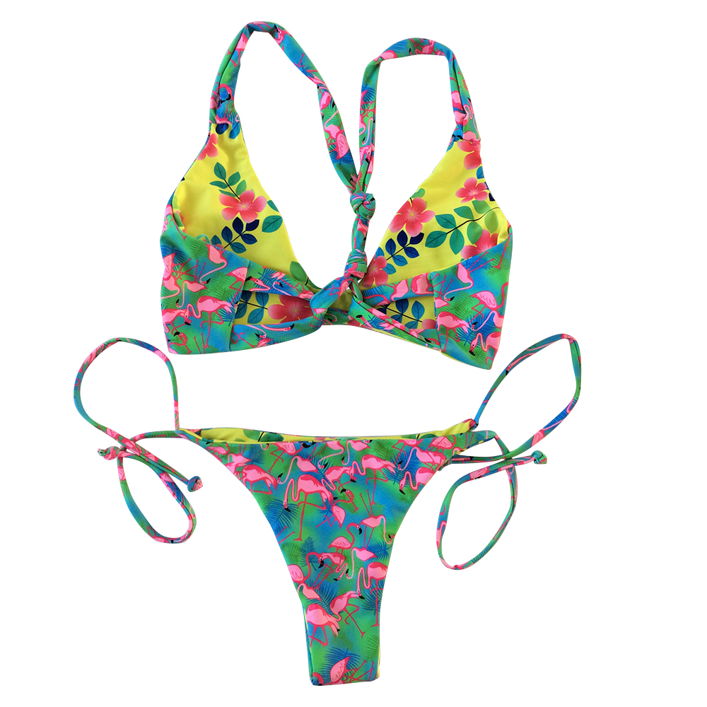 flamingo print, flower print in another side for reversible bikini two piece swimsuits