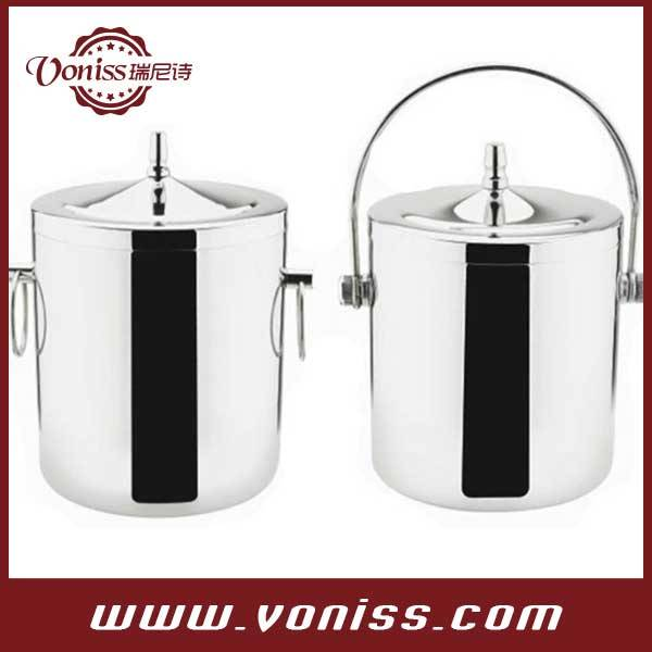 Double layer stainless steel ice bucket champagne ice bucket wine cooler,bicyclic handle 1.0L,1.4L a