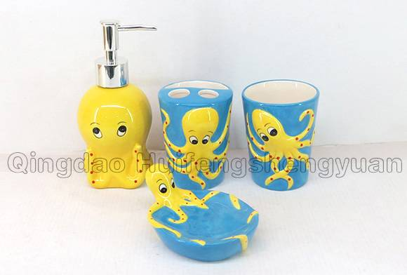 100% handpainted ceramic bathroom set