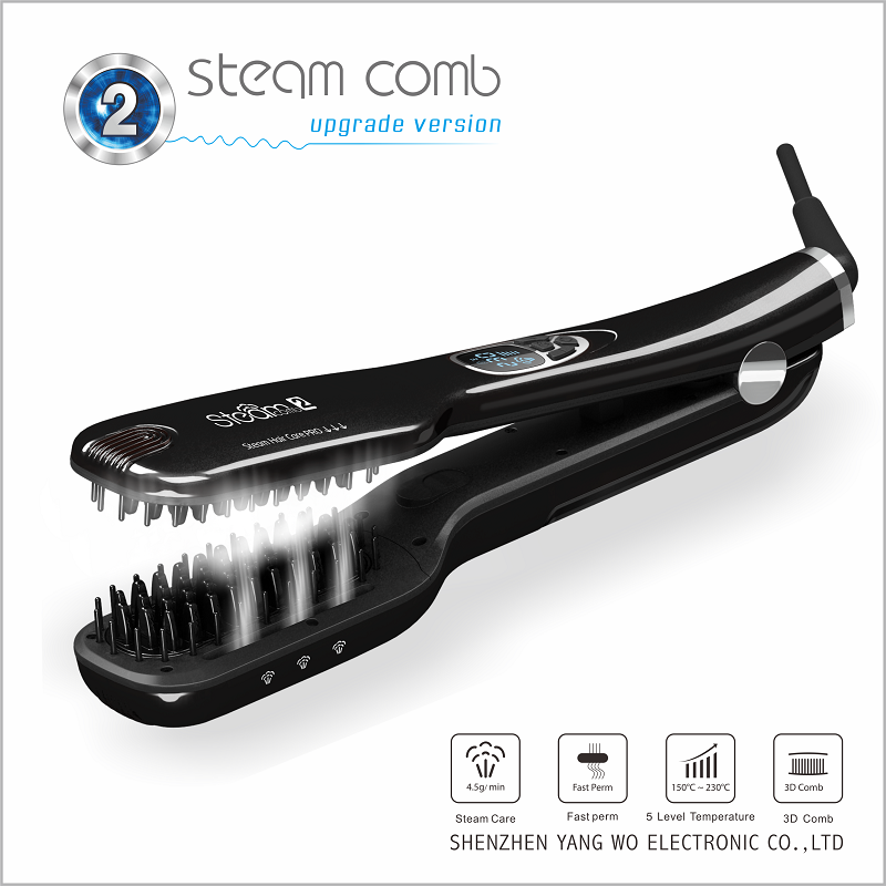 Salon Steam hair Straightening brush Iron Powerful Hair Straightener Digital Steampod Hair comb with