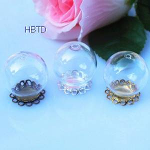 Hand Blown Globe Clear Hollow Jewelry Round Crystal Glass Ball Jewelry Covers Necklace Pendant