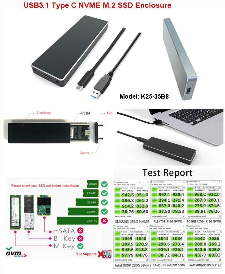type c USB 3.1 Gen2 NVME M.2 ssd enclosure