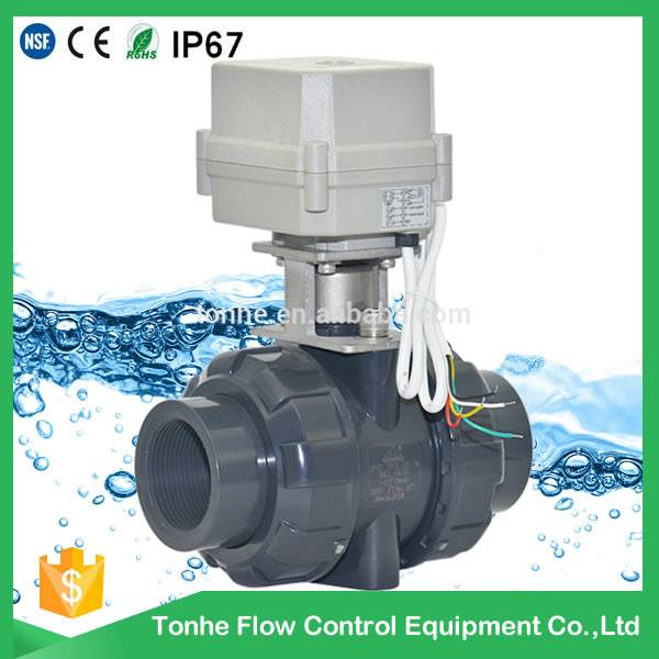 1.5 inch motorized PVC ball valve price no thread for Swimming pool hot water supply