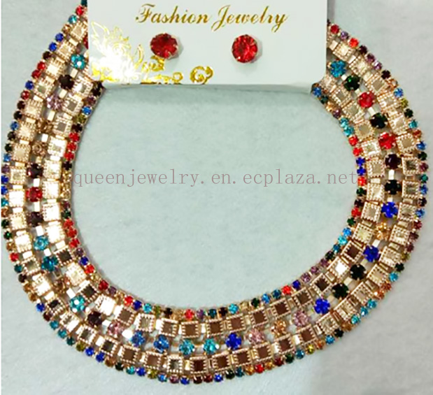 High Quality Gold Plated jewelry set F Necklace Earrings colorful Rhinestone elegant Jewelry
