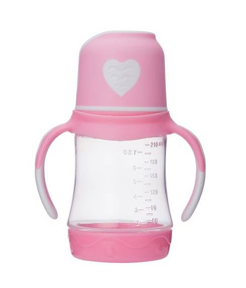 Wide Neck Plastic Baby Feeding Bottle 210ml With Straw and Base