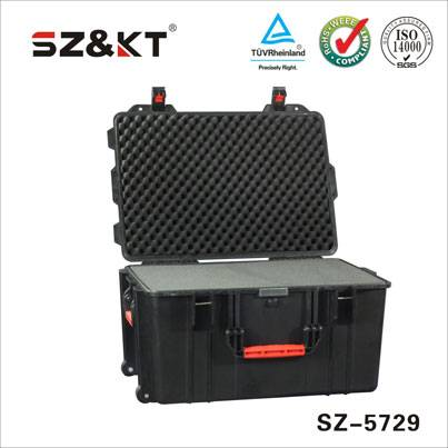 Waterproof safety equipment case with handle and wheels