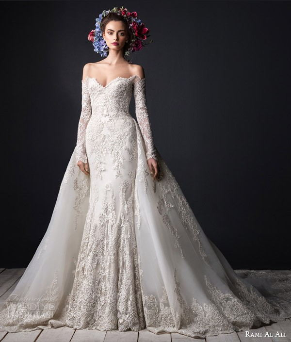 Off Shoulder Lace Wedding Dress With Long Sleeve Court Train Vestido De Noiva Manga Longa