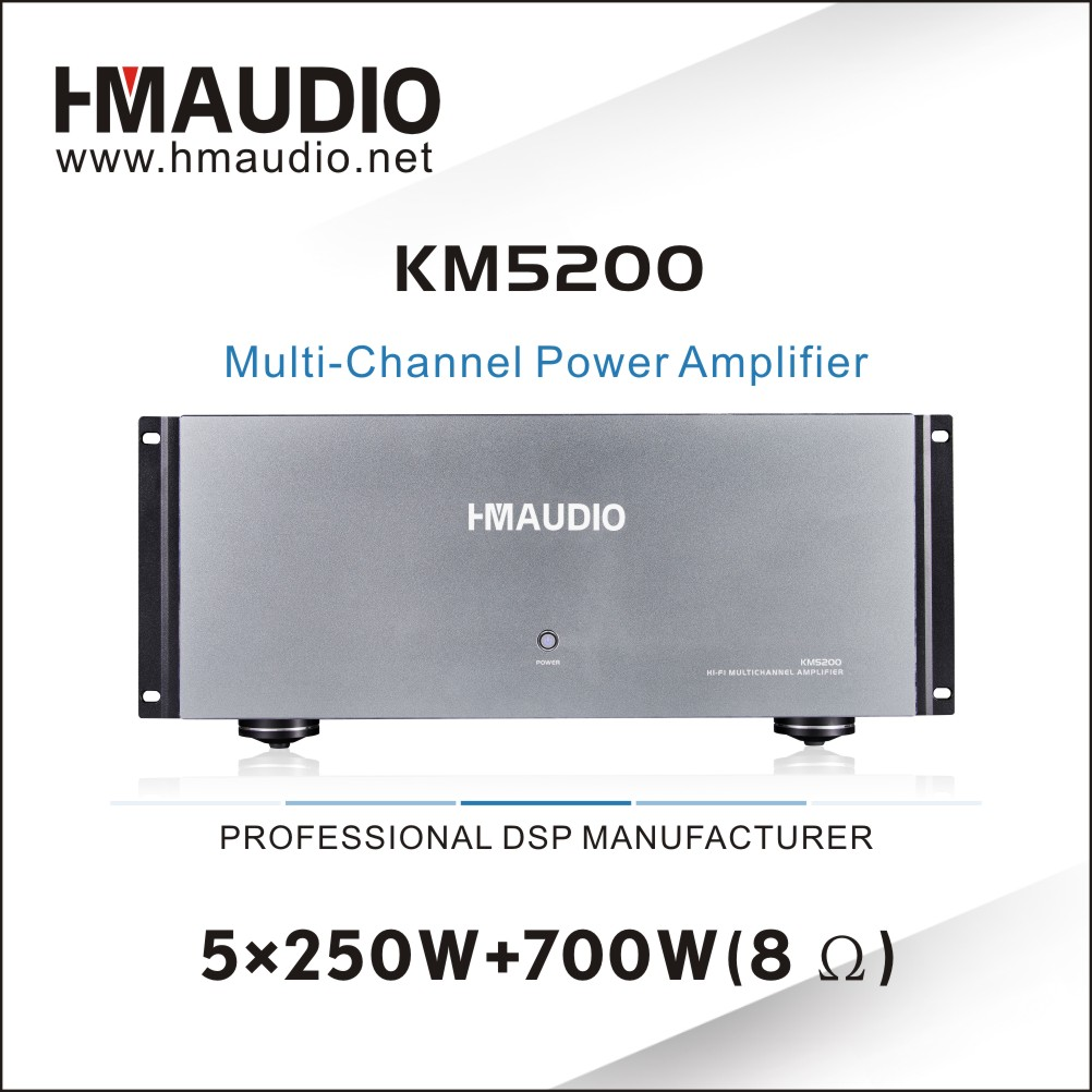 5 x 250W multi-channel power amplifier KM5200 for Home theater use
