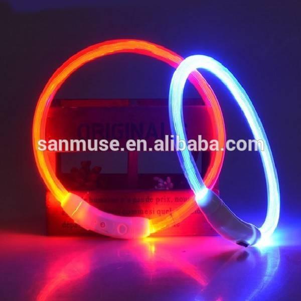 Pet USB LED Dog Collar Rechargeable LED Silicone Dog Collar