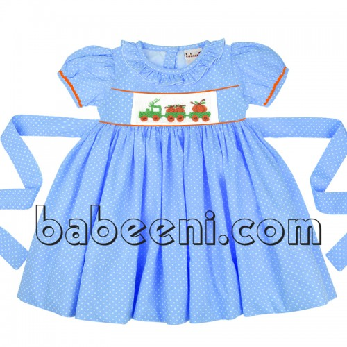 Pumpkin truck smocked girl dress for Halloween
