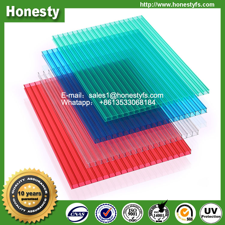 Polycarbonate sun sheet hollow sheet for carport roofing partition factory price