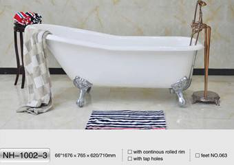 "NH-1002-3 66"" Slipper Freestanding Cast Iron Bathtub"