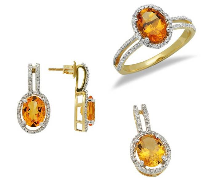 citrine crystal jewelry sets