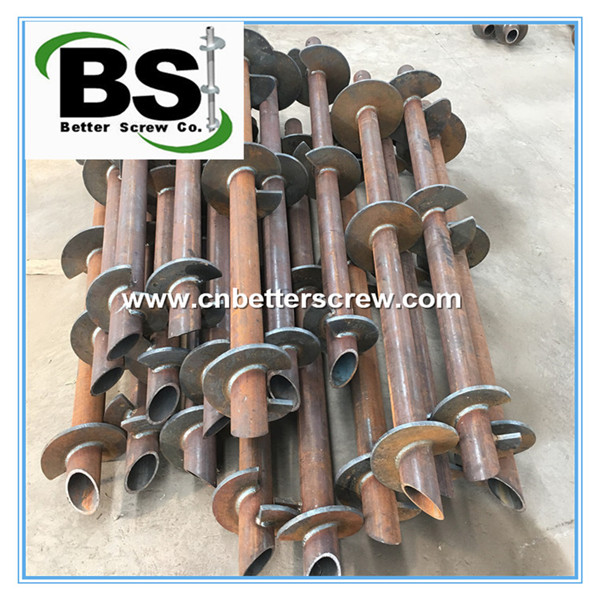 round shaft helical pile with three helix