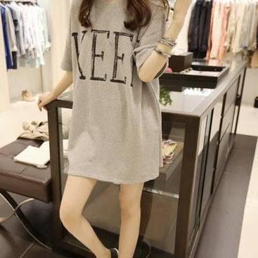 2015 women's summer wear loose fat mm big yards short sleeve T-shirt half sleeve female long han edi