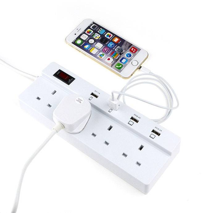4 usb ports power socket strip 250v 4 way uk plug outlet with surge protector