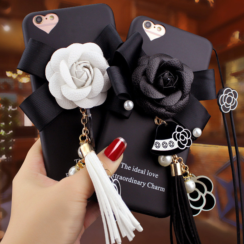 Silicone Soft Camellia Strap Tassel Pendant Black Back Cover for iPhone 6s/7/8 Plus Cellphone cases